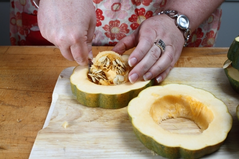 Removing seeds from squash