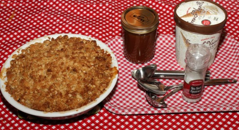 Apple Crisp with ice cream and salted caramel sauce