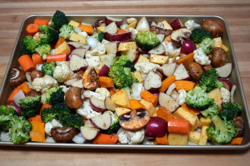 vegetables on pan